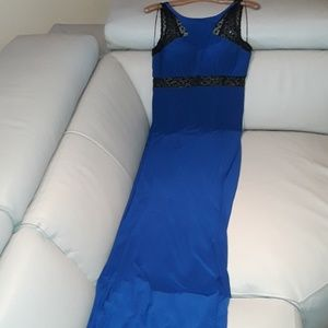 Royal blue gown.